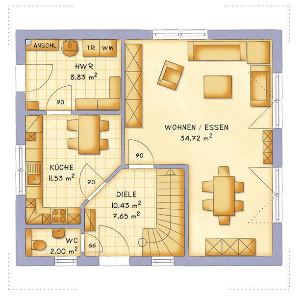 Erdgeschoss VarioFamily 127 von VarioSelf Lizenzgesellschaft mbH