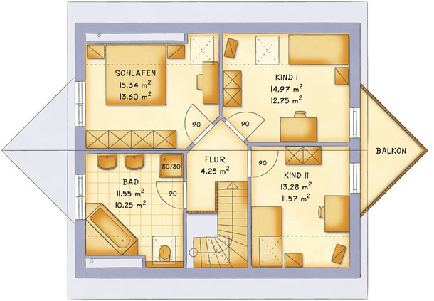 Dachgeschoss VarioFamily 132 von VarioSelf Lizenzgesellschaft mbH