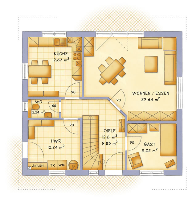 Erdgeschoss VarioFamily 141 von VarioSelf Lizenzgesellschaft mbH