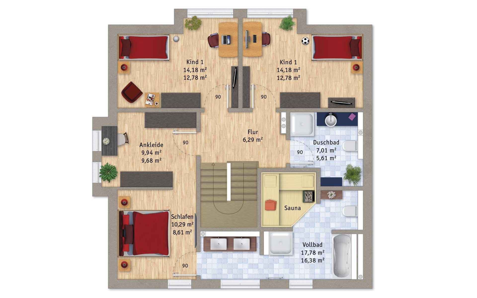 Dachgeschoss VarioFamily 166 von VarioSelf Lizenzgesellschaft mbH