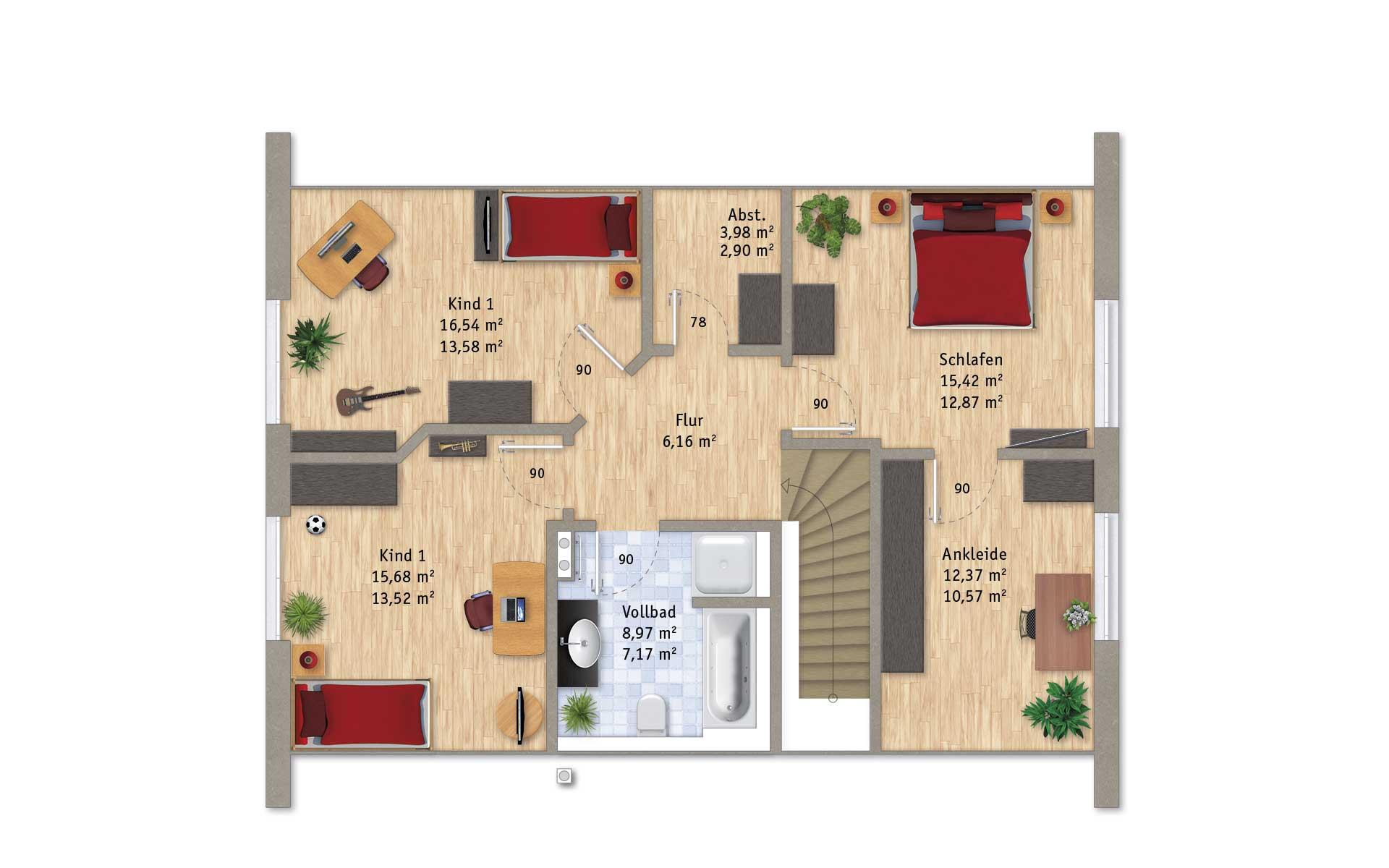 Dachgeschoss VarioFamily 180 von VarioSelf Lizenzgesellschaft mbH