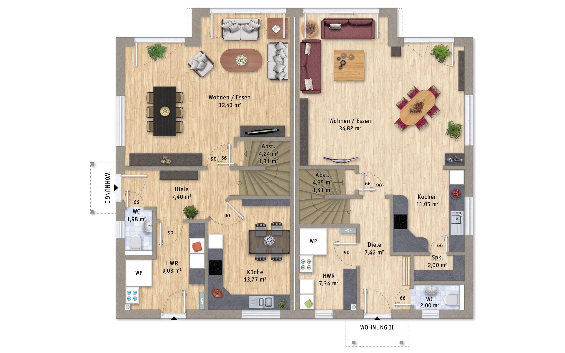 Erdgeschoss VarioTwin 127 von VarioSelf Lizenzgesellschaft mbH