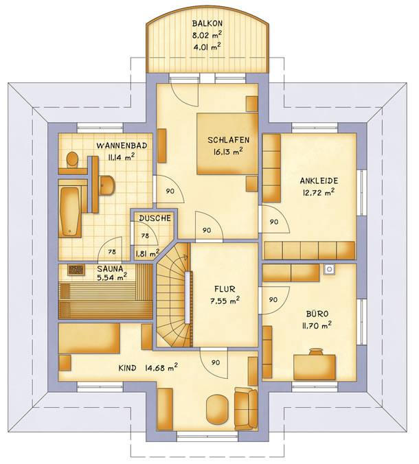 Obergeschoss VarioToscana 185 von VarioSelf Lizenzgesellschaft mbH