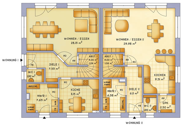Erdgeschoss VarioTwin 114 von VarioSelf Lizenzgesellschaft mbH