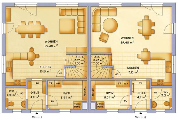Erdgeschoss VarioTwin 121 von VarioSelf Lizenzgesellschaft mbH