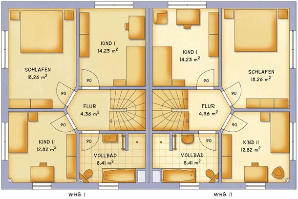 Obergeschoss VarioTwin 121 von VarioSelf Lizenzgesellschaft mbH