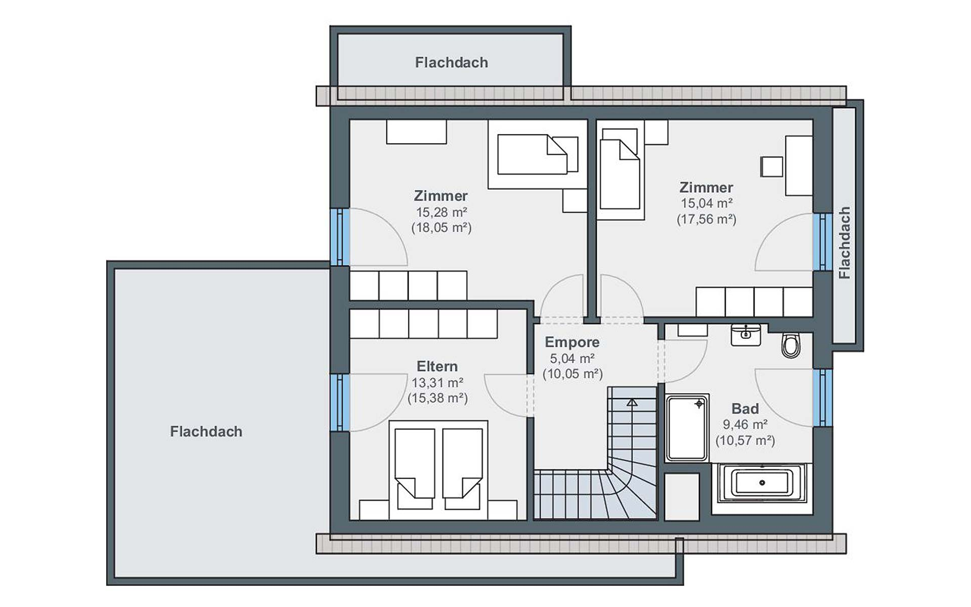 Dachgeschoss Ausstellungshaus Wenden-Hünsborn generation5.5, Haus 110 von WeberHaus GmbH & Co. KG