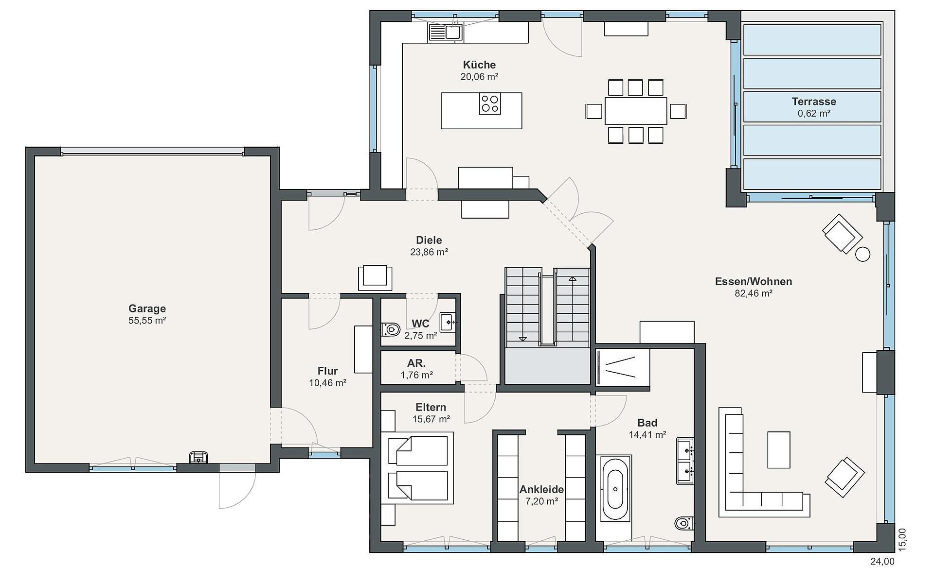 Erdgeschoss Individual (Hetz) von WeberHaus GmbH & Co. KG