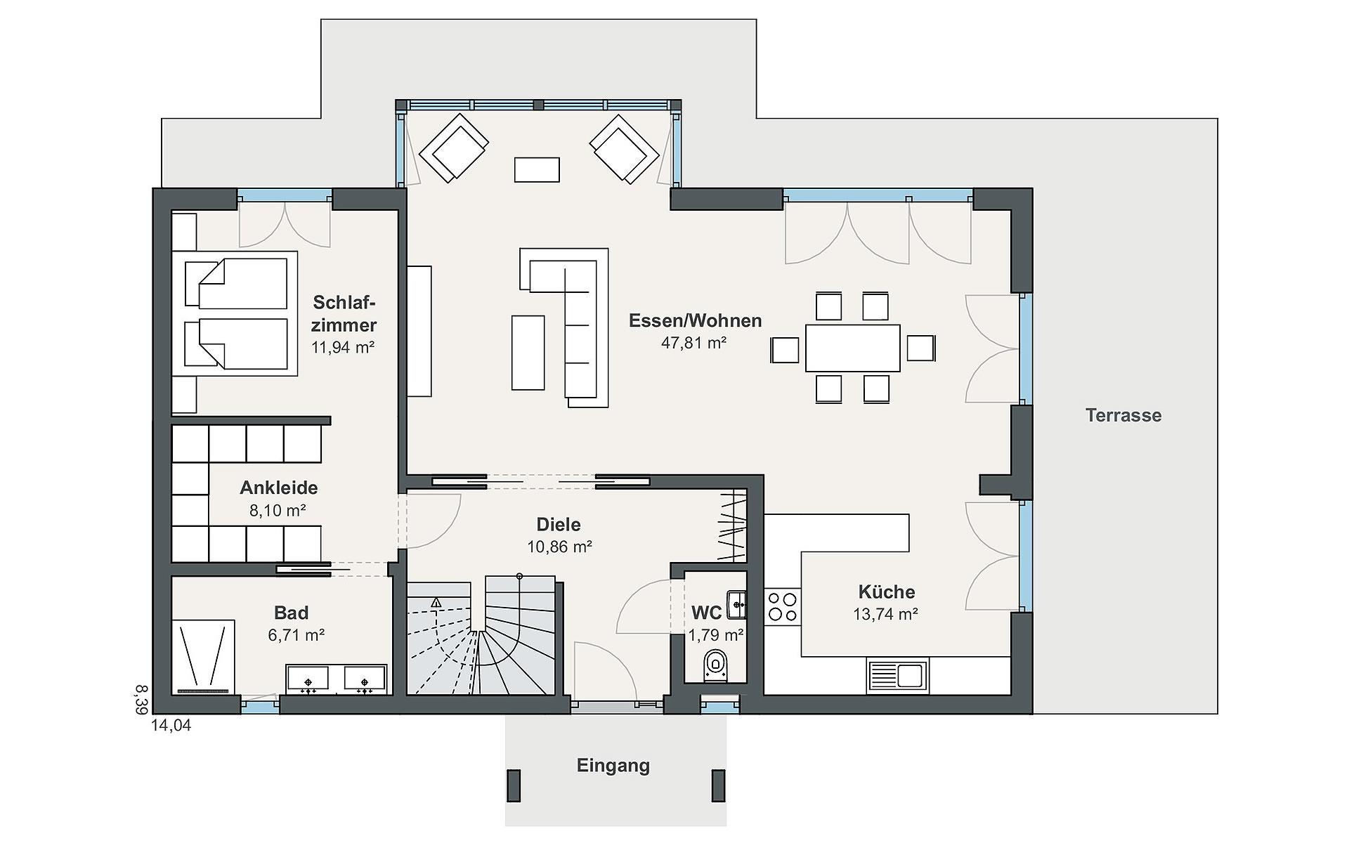 Erdgeschoss Individual (Leclerc) von WeberHaus GmbH & Co. KG