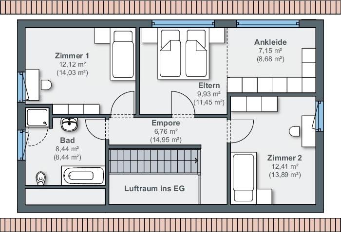 Dachgeschoss sunshine 110 von WeberHaus GmbH & Co. KG