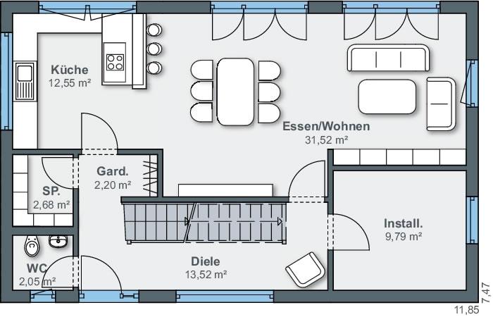 Erdgeschoss sunshine 110 von WeberHaus GmbH & Co. KG