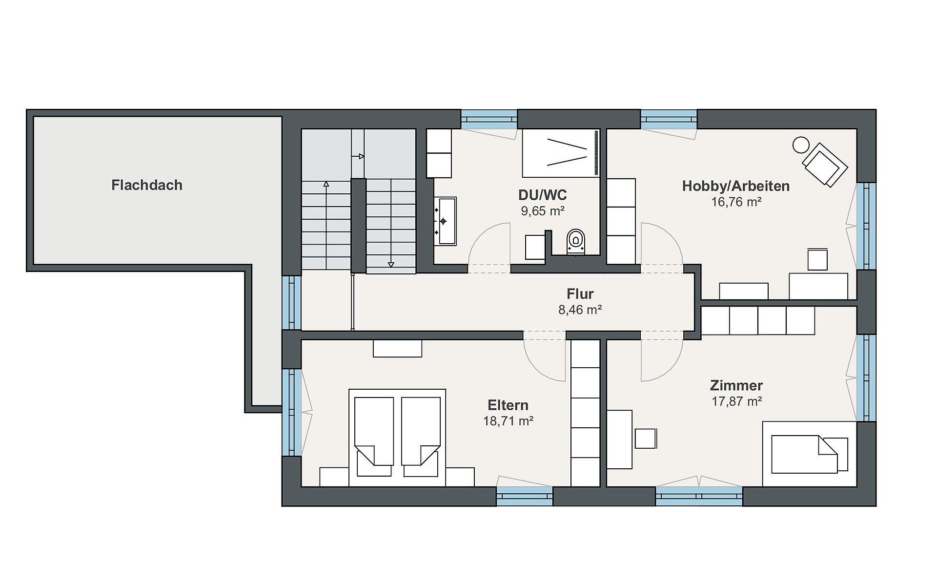 Dachgeschoss Musterhaus Rheinau-Linx (sunshine) von WeberHaus GmbH & Co. KG