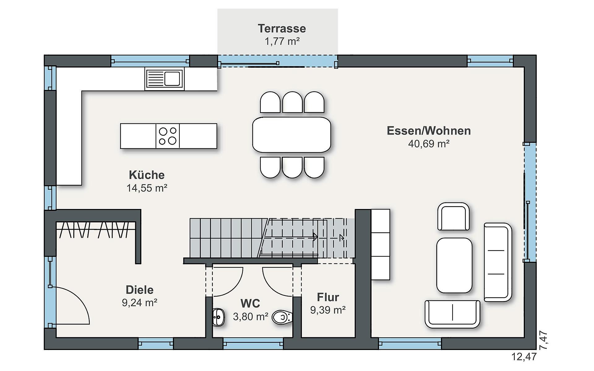 Erdgeschoss sunshine 300 (Friemert) von WeberHaus GmbH & Co. KG