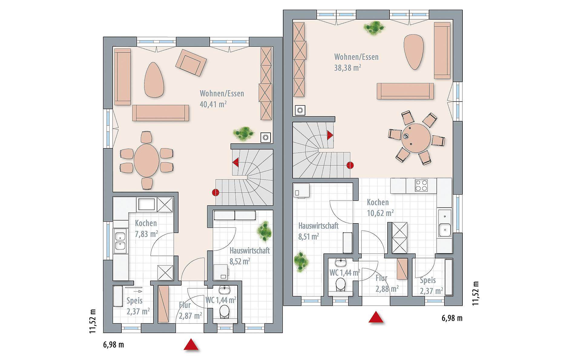 Erdgeschoss Edition 122-124 Doppelhaushälfte (124) von Wolf-Haus-GmbH