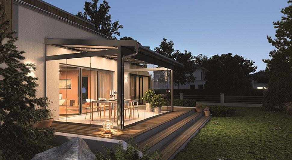 Schutz vor Regen und Schnee. Glasdächer als Allroundhelfer am Haus. Foto: SunFlex