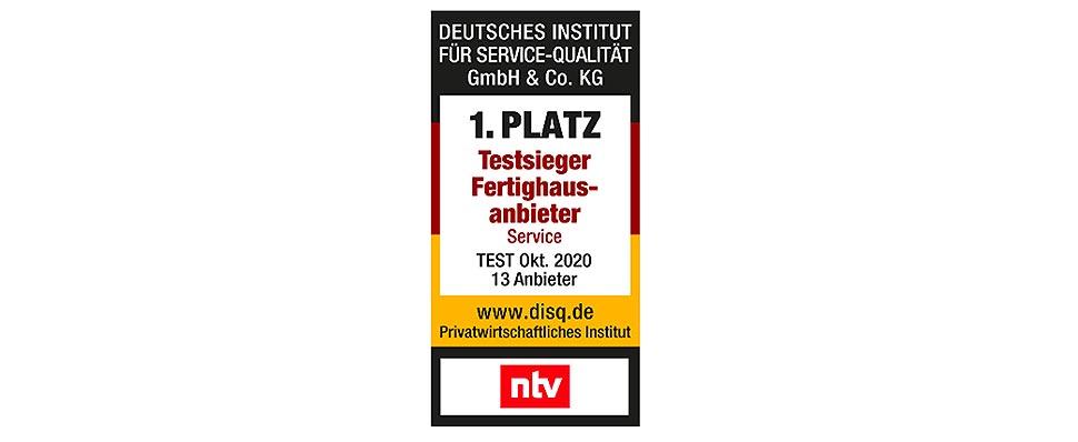 Service-Qualität von 13 Fertighausanbietern getestet: FingerHaus zum wiederholten Male Testsieger. grafik: NTV / disq.de