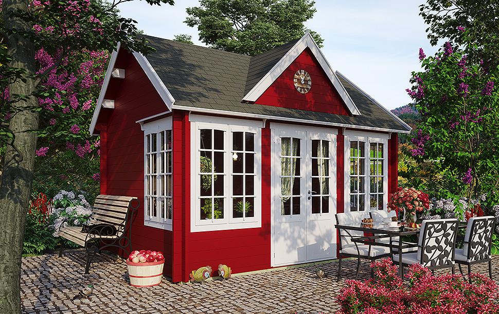 Farbenfrohes Gartenhaus im englischen Stil: Modell Clockhouse Windsor 70. Foto: gartenhausfabrik.de