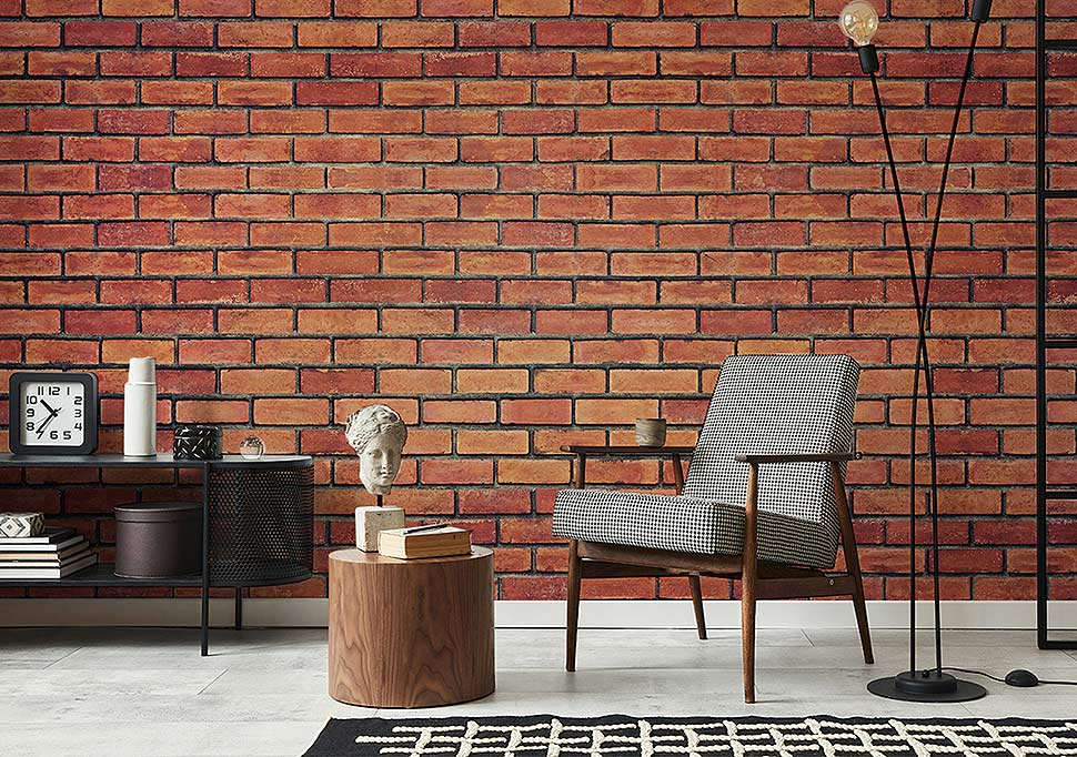 Fototapete Backstein - Ideen und Inspirationen mit Fototapeten für Wohnzimmer. Foto: myredro.de