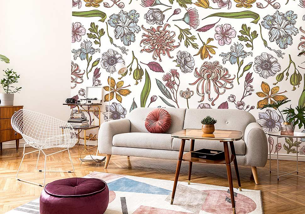 Fototapete Blumen - Ideen und Inspirationen mit Fototapeten für Wohnzimmer. Foto: myredro.de