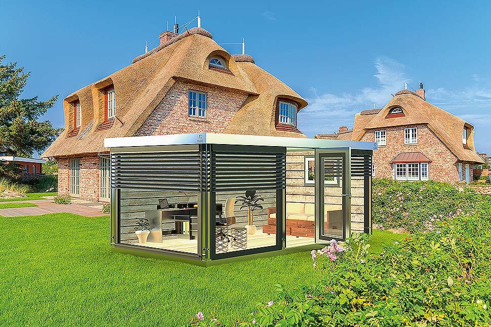 Bei dieser einmaligen Aussicht in den eigenen Garten geht die Arbeit noch einmal so leicht von der Hand – das Gartenbüro #Deluxe von Cube fx ist ein Traum aus Licht. (Foto: epr/Cube fx)