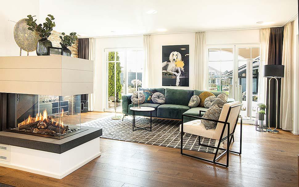 """Der Wohnbereich des """"Haas MH Poing 187"""" wurde wie alle anderen Räume von OTTO neu interpretiert. Foto: Haas"""