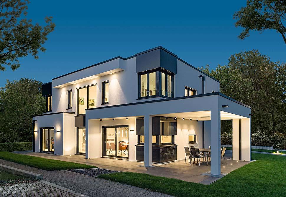 Qualität und Kompetenz vereint im Musterhaus San Diego von RENSCH-HAUS - gebaut als Effizienzhaus 40 Plus. Foto: RENSCH HAUS