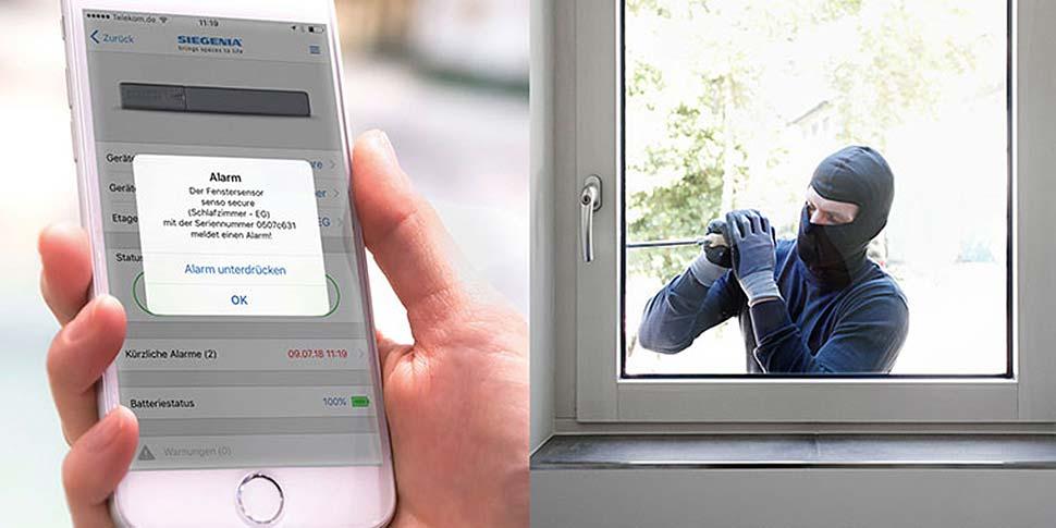 Smarte Sicherheit: Sobald der Fenstersensor einen Manipulationsversuch erkennt, reagiert er mit einem Warnton direkt am Fenster und schickt auf Wunsch eine Push-Nachricht auf ein Smartphone. Foto: djd / SIEGENIA-AUBI KG